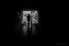 Oooo (dalibor.papcun) Tags: red woman bike dark subway mono shadows outline graphite kosice