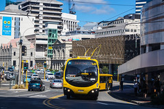 Bowen Street (andrewsurgenor) Tags: city newzealand urban bus buses yellow electric busse transport transit nz wellington publictransport streetscenes omnibus trolleybus obus trolleybuses citytransport trackless nzbus gowellington