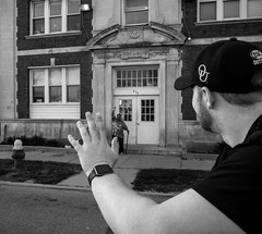 Community Spirit in the Motor City (Mike Boening Photography) Tags: hello blackandwhite streets bicycle evening community spirit aaron detroit olympus riding waving detroitbikes trafficjamandsnug slowroll mikeboening