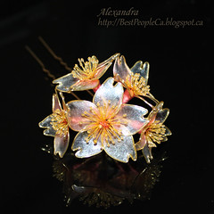 Cherry Blossom Hair Pin (BestPeople.Ca) Tags: hair cherry pin blossom handmade ooak resin kanzashi weddingaccessories