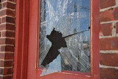 Shatter (NGDphoto) Tags: red door glass broken break brokenglass shatter shattered shatteredglass punch brick reflection