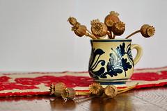 Still life (in Explore!) (Zsofia Nagy) Tags: stilllife embroidery indoor poppy mug pottery tabletop weeklytheme korondi d3100 flickrlounge