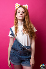 Kawaii Grunge Kitty (Fight The Light) Tags: portrait daisies photography ginger model fashionphotography grunge kitty ears redhead portraiture kawaii denim dungarees denimshorts birminghamphotography solihullphotographer fightthelight kawaiigrungekitty dungareesshorts