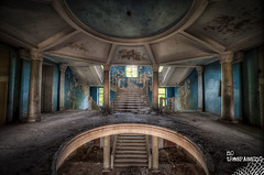Blue Sanatorium (Wilga [notrespassing.pl]) Tags: history abandoned architecture vintage dark hall ruins moody darkness decay eerie creepy nostalgia forgotten urbanexploration horror nostalgic past derelict hdr highdynamicrange notrespassing urbex modernruins wilga opuszczone eksploracja zapomniane overgivnaplatser