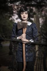 Careful with that axe my dear... (dmrathburn) Tags: axe creepy portrait beauty macabre summer graveyard gothic morbid