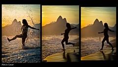 Rio de Janeiro (Alcio Cezar) Tags: brasil riodejaneiro agua gente mulher silueta praiadeipanema sudeste morrodosdoisirmos marpordosol