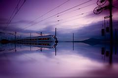 Tren crepuscular (Jose Casielles) Tags: color luz postes tren cables cielo nubes reflejo estacin