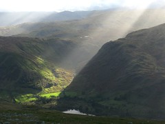 View from Helvellyn. (offshoretomorrow) Tags: england sun sunlight mountains walking landscapes y britain hiking lakedistrict cumbria fells views sunbeam sunray valleys helvellyn