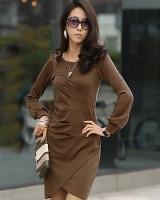 326552韩版淑女修身洋装咖啡色-(韓版女裝批發-www.ef1688.com)