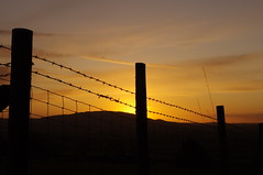Down the wire (Sundornvic) Tags: county morning light sky sun silhouette clouds sunrise glow shropshire hills wrekin haighmondhill