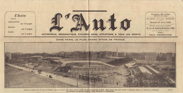 """lAuto"" April 23th, 1932 - inauguration of the ""new"" Parc des Princes"