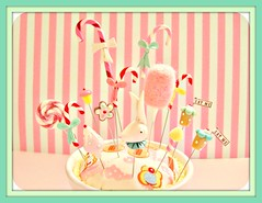 An Alice Christmas (Pinks & Needles (used to be Gigi & Big Red)) Tags: sculpture rabbit mushroom glitter cookie handmade stripes kawaii cottoncandy pincushion etsy bows sculpted aliceinwonderland candycanes shabby lattebowl pompomtrim gigiminor pinksandneedles pintoppers