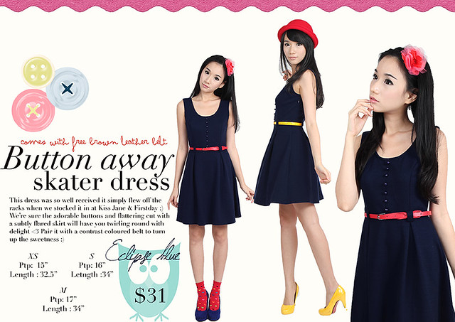 $31 BN button away skater dress (Eclipse Blue)