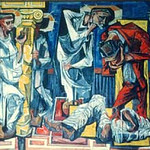 """<b>Christ Before Pilate (If This Be The Law)</b><br/> Fridtjof Schroder (1917-1990) """"Christ Before Pilate (If This Be The Law)"""" Oil, ca. 1959 LFAC #087<a href=""""http://farm8.static.flickr.com/7001/6466326979_6f7b741157_o.jpg"""" title=""""High res"""">∝</a>"""
