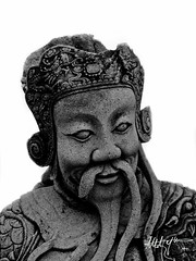 The immortal warrior (lm 5) Tags: blackandwhite statue rock thailand temple asia bangkok po what warrior immortal arun