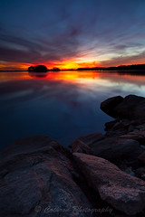 Perfect Calm (John Cothron) Tags: autumn sunset sky usa cloud sun color reflection fall nature rock georgia landscape gainesville sunny lakelanier hallcounty mountainviewpark brownsbridgeroad johncothron cothronphotography
