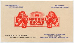 Imperial Shows, Grand Rapids, Michigan (Alan Mays) Tags: old blue red black mi vintage ads advertising fairs antique michigan ephemera equipment businesscards lions mich shows grandrapids rides hotels advertisements logos amusements payne agents carnivals crowns representatives midways mechanicalrides frankpayne imperialshows amusementattractions ridingdevices reidhotel
