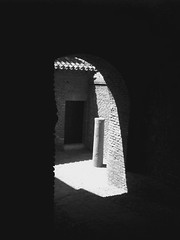 Malaga castle shadow  arch way Spain (Broo_am (Andy B)) Tags: lighting door city light white black luz statue wall del buildings la spain shadows floor dom sombra ruina arco ladrillos castillo  iphone    islmico       iphoneography