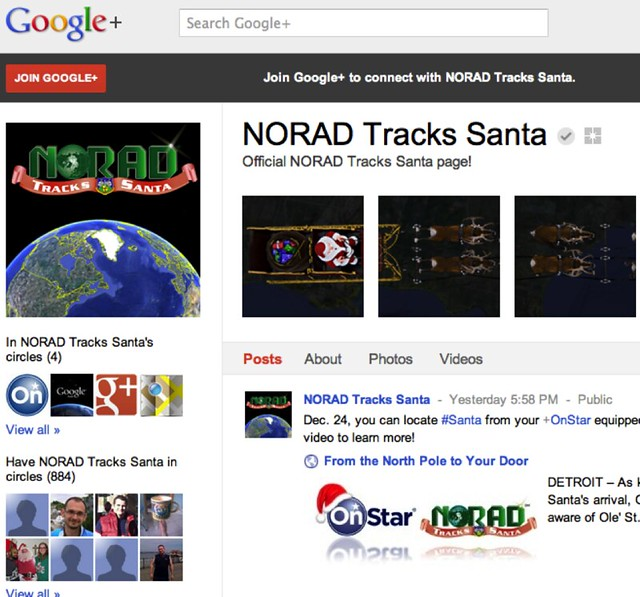NORAD Santa on Google