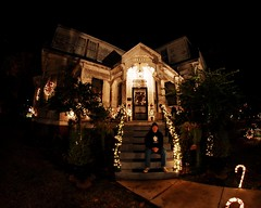 Christmas at Larry and Terry's Place (Studio d'Xavier) Tags: christmas longexposure history night nocturnal wideangle fisheye 365 eastlake victorianhouse 1895 365days queenannerevival werehere 359