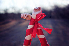 (AmyJanelle) Tags: red inspiration color pose hands arms bow ribbon tones colorsplash