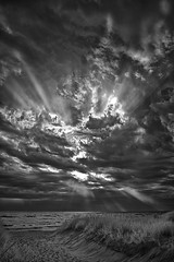 Drama in the Sky, Lake Michigan (Steven White Photographic Art) Tags: sky blackandwhite bw storm art beach monochrome clouds canon landscape ir sand artistic fine lakemichigan infrared 5d sunrays fineartphotography digitalinfrared convertedinfraredcamera blackandwhitedigitalinfrared