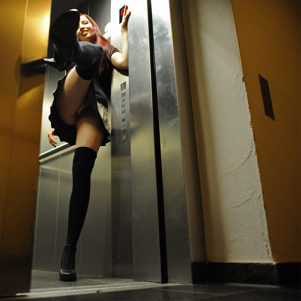 sexy woman in elevator