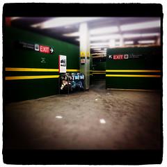 Pape station (AshtonPal) Tags: toronto construction ttc blogto danforthave torontotransit greenwalls torontoist papesubwaystation december2011 yellowstrips appleiphone4s