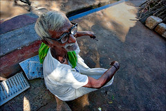 For his cup of tea (Saravana Raj) Tags: life street old india man village grandpa madurai tamilnadu kilakuyilkudi u4d1756