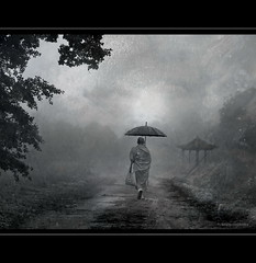 Path in Mist (h.koppdelaney) Tags: life mist art rain digital umbrella photoshop peace view symbol buddha religion picture monk buddhism philosophy harmony mind meditation awareness metaphor enlightenment dharma stillness psyche symbolism psychology archetype conscious vipassana idream bestcapturesaoi koppdelaney elitegalleryaoi