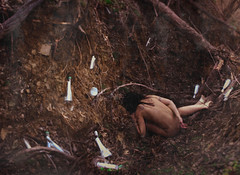 love in silence becomes reprimand (Brooke Golightly) Tags: portrait woman selfportrait female lost woods bottles roots deep dirt forgotten ravine messages messageinabottle thethingsicantsay