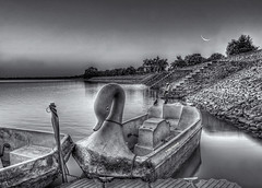 Of boat, birds, old man and moon... (whoisnd) Tags: old trees bw moon white man black tree birds canon boat blackwhite dusk oldman pole plastic oldage 1740 birdies nitin 1d4 1div nitindangwal