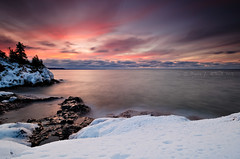 Winter Sunset (Bryan O'Toole) Tags: longexposure winter sunset lake ontario canada water landscape nikon scenic superior nd soo lakesuperior manfrotto saultstemarie northernontario waterscape northchannel algoma kenko groscap singhray princetownship kenkopro1d rgnd nikond7000 nikkorafs1024mm