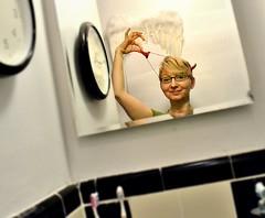 between toothbrushes and time (Daniela Klara R. (gone)) Tags: selfportrait bathroom horns devil toothbrush selfie angelwings