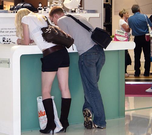 white black beautiful shopping hair long highheels legs boots candid bra exhibition blouse blonde heels happycouple seethrough visible canong3 handbag miniskirt youngwoman hotpants killerheels denimjeans