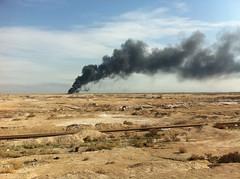 Pipeline, Desert, Smoke - Basrah, Iraq