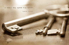 A Small Key (Imagemakercan - The Lensdancer) Tags: old blur macro metal vintage keys artwork nikon d2x quotes layers desaturated simple unlock opendoors yesteryear macrolens creativeblur skeletonkeys cs5 joygerow lensdancerstudios beyondlayers turkishproverbasmallkeyopensbigdoors imagerecipe
