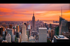 Midtown Sunset from Top of the Rock (RBudhu) Tags: newyorkcity rockefellercenter timessquare empirestatebuilding gothamist gotham lowermanhattan topoftherock 30rock gothamcity bankofamericatower midtownskyline newyorkcitysunset midtownmanhattanskyline empirestateofmind