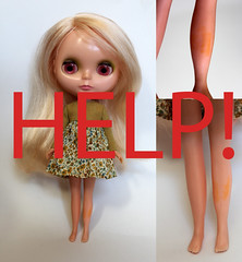 HELP!  I am in tears! (obsessivelystitching - StitchWhipped) Tags: help blythe whathaveidone kennerblythe 1972blythe stainedlegs stainedkennerlegs