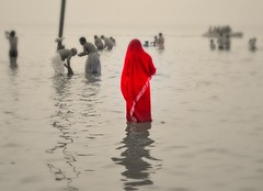 ......The Woman in Red [Explored] (pallab seth) Tags: morning sea india colour reflection festival religious nikon candid religion culture delta fair ritual tradition bathing custom devotee hindu hinduism bengal