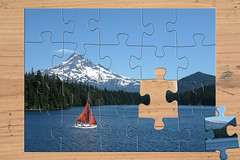"""DUC #770 - """"THE LAST PIECE"""" (mark_rutley) Tags: mountain lake photoshop boat sailing yacht manipulation puzzle jigsaw downunderchallenge"""