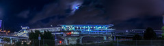 bart's oak airport extention at coliseum station (pbo31) Tags: california blue sky panorama moon color station night oakland spring airport oak nikon track bart platform may large tram overcast cable panoramic motionblur transit bayarea coliseum eastbay elevated stitched alamedacounty extention 2016 lightstream boury pbo31 d810