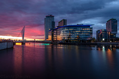 Sundown at the Quays (Sandy Sharples) Tags: longexposure blue sunset england reflection architecture manchester cityscape nightlights bbc hour salford quays