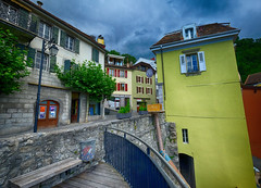 Colorful Montreux, Switzerland (` Toshio ') Tags: building architecture clouds bench switzerland europe european swiss oldtown montreux swissalps toshio xe2 fujixe2