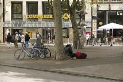 Homeless. Hamburg  Mitte. Mnckebergstrasse. (fipixx) Tags: road street people urban living leute outdoor strasse hamburg streetscene menschen environment leisure everyday humans strassenszene alltag gesellschaft strassen strassenleben urbanarte lebenswelt