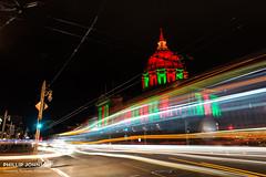 SF City Hall by night. (Phillip Johnson Photography) Tags: sanfrancisco christmas city longexposure lights cityhall citylife haight citylights bayarea lighttrails ashbury phillipjohnsonphotography