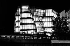 The IAC building and the High Line. New York (ravalli1) Tags: newyorkcity newyork nikon chelsea manhattan gehry notte architettura biancoenero highline iac