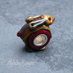 """Tan Bunny on red SIlver Cored Bead • <a style=""""font-size:0.8em;"""" href=""""https://www.flickr.com/photos/37516896@N05/6418488993/"""" target=""""_blank"""">View on Flickr</a>"""