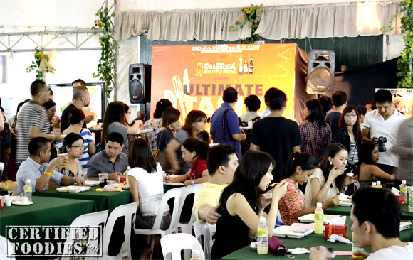 Foodies were lined up and seated inside the tent area in Mercato Centrale