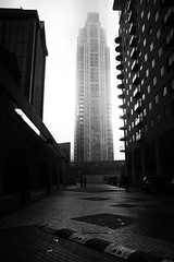 Big buildings in a fog 4 (Che-burashka) Tags: winter mist london weather vertical misty fog empty foggy documentary nopeople docklands modernarchitecture businessdistrict